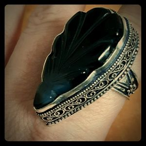 New Huge Carved Black Onyx Silver Ring. Size 9